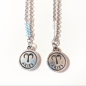 Aries Reversible Zodiac Birthstone Necklace